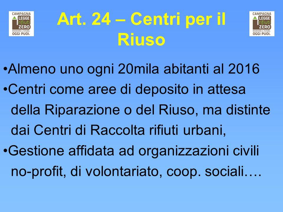 Art. 24 – Centri per il Riuso Almeno uno ogni 20mila abitanti al 2016 Centri come aree di deposito in attesa della Riparazione o del Riuso, ma distint