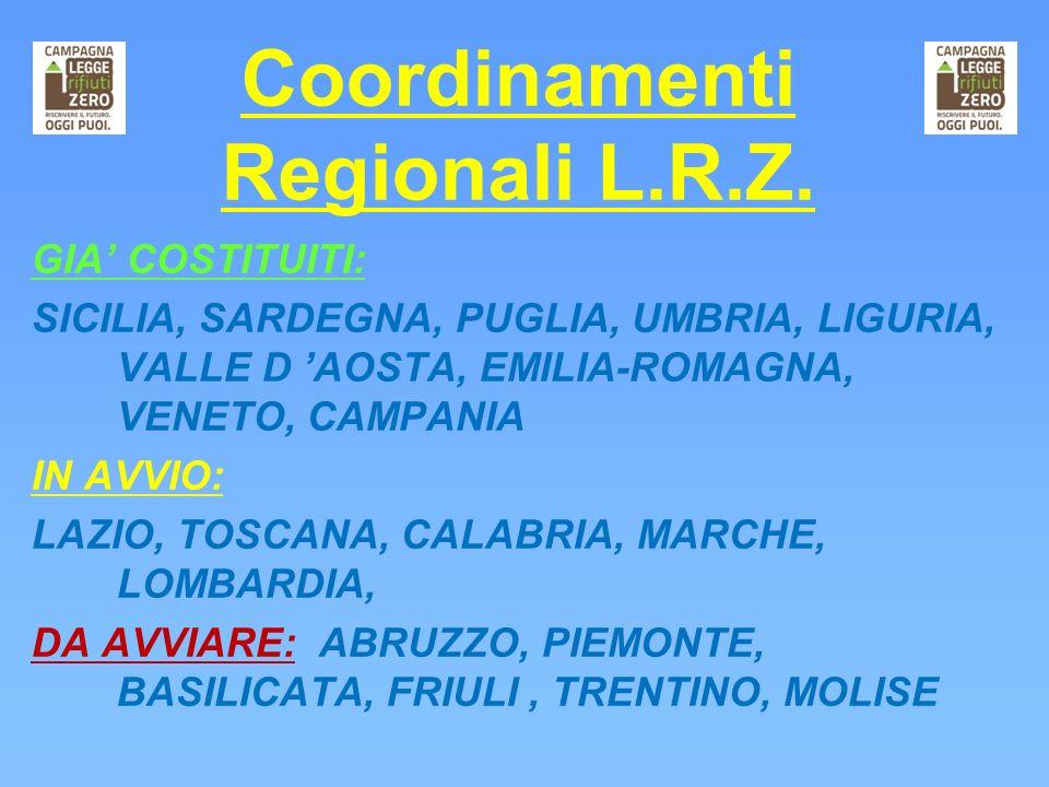 Coordinamenti Regionali L.R.Z. GIA COSTITUITI: SICILIA, SARDEGNA, PUGLIA, UMBRIA, LIGURIA, VALLE D AOSTA, EMILIA-ROMAGNA, VENETO, CAMPANIA IN AVVIO: L