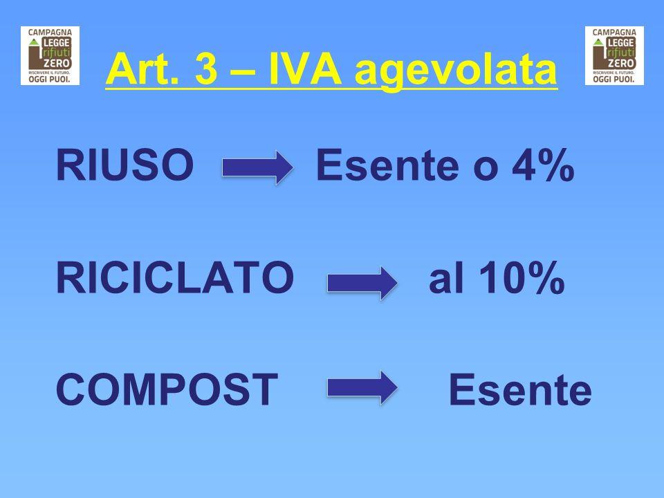 Art. 3 – IVA agevolata RIUSO Esente o 4% RICICLATO al 10% COMPOST Esente