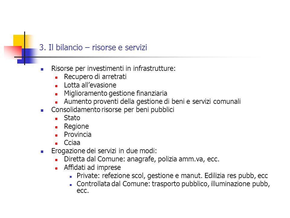 3. Il bilancio – risorse e servizi Risorse per investimenti in infrastrutture: Recupero di arretrati Lotta allevasione Miglioramento gestione finanzia