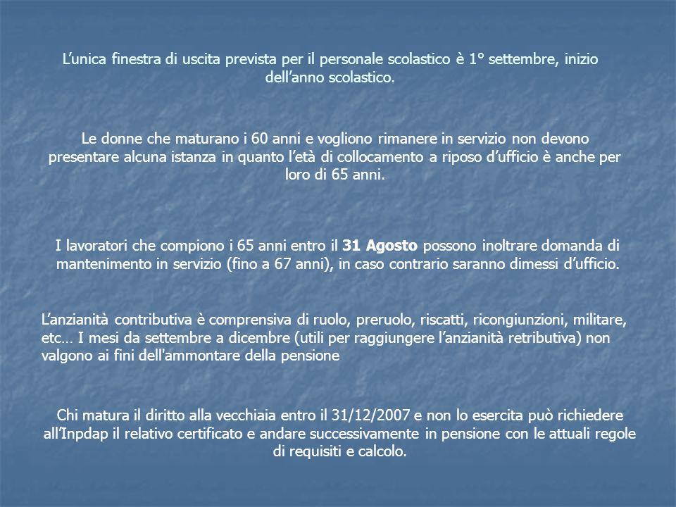 Lunica finestra di uscita prevista per il personale scolastico è 1° settembre, inizio dellanno scolastico. Le donne che maturano i 60 anni e vogliono