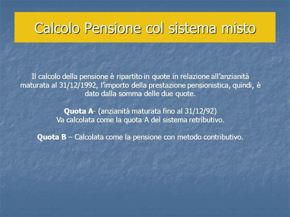 Calcolo Pensione col sistema misto Il calcolo della pensione è ripartito in quote in relazione allanzianità maturata al 31/12/1992, limporto della pre