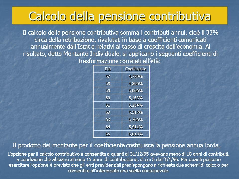 Calcolo della pensione contributiva Il calcolo della pensione contributiva somma i contributi annui, cioè il 33% circa della retribuzione, rivalutati
