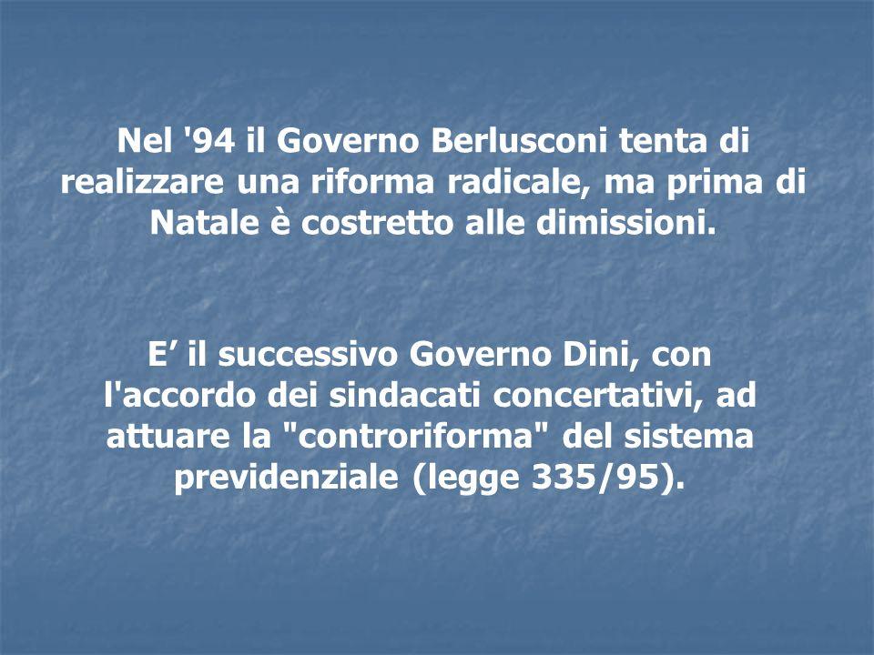 Nel '94 il Governo Berlusconi tenta di realizzare una riforma radicale, ma prima di Natale è costretto alle dimissioni. E il successivo Governo Dini,