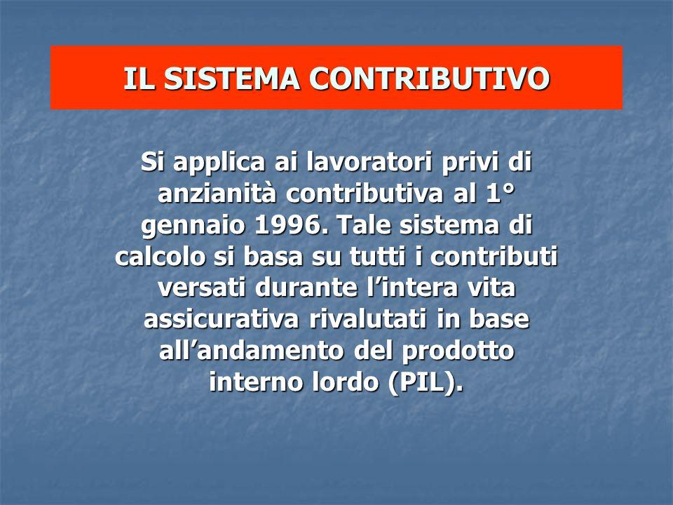 IL SISTEMA CONTRIBUTIVO Si applica ai lavoratori privi di anzianità contributiva al 1° gennaio 1996. Tale sistema di calcolo si basa su tutti i contri