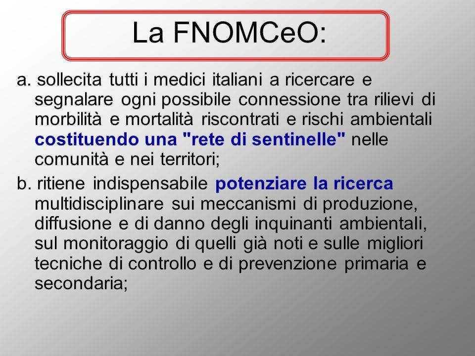 La FNOMCeO: a. sollecita tutti i medici italiani a ricercare e segnalare ogni possibile connessione tra rilievi di morbilità e mortalità riscontrati e