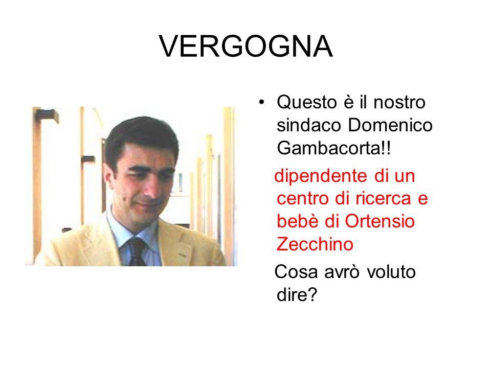 VERGOGNA Questo è il nostro sindaco Domenico Gambacorta!! dipendente di un centro di ricerca e bebè di Ortensio Zecchino Cosa avrò voluto dire?