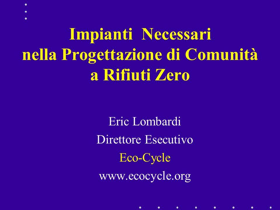 Impianti Necessari nella Progettazione di Comunità a Rifiuti Zero Eric Lombardi Direttore Esecutivo Eco-Cycle www.ecocycle.org