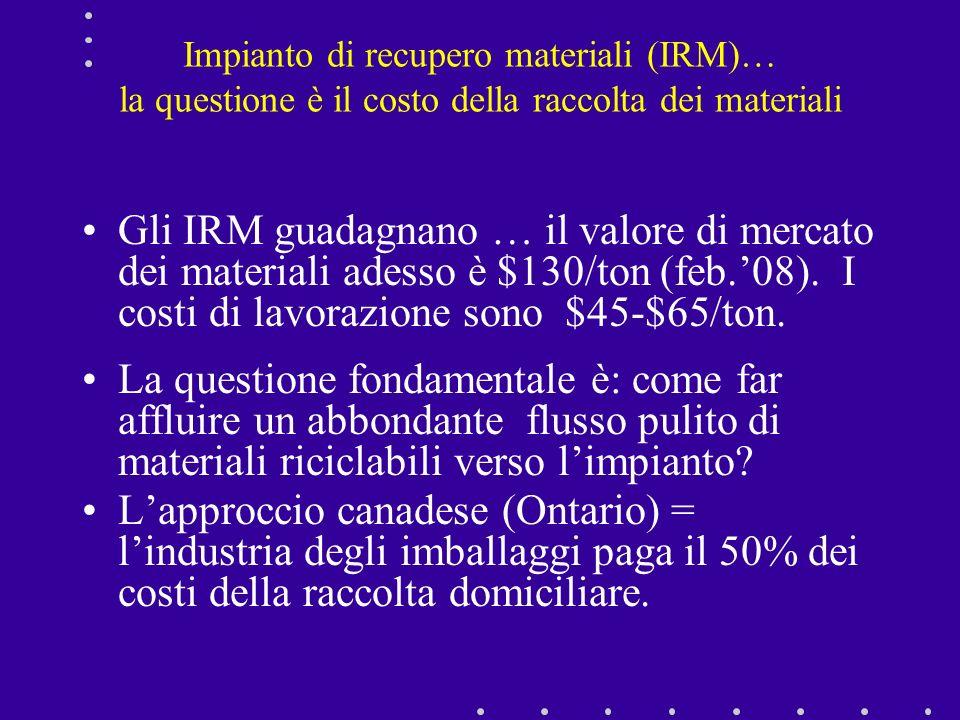 Impianto di recupero materiali (IRM)… la questione è il costo della raccolta dei materiali Gli IRM guadagnano … il valore di mercato dei materiali ade