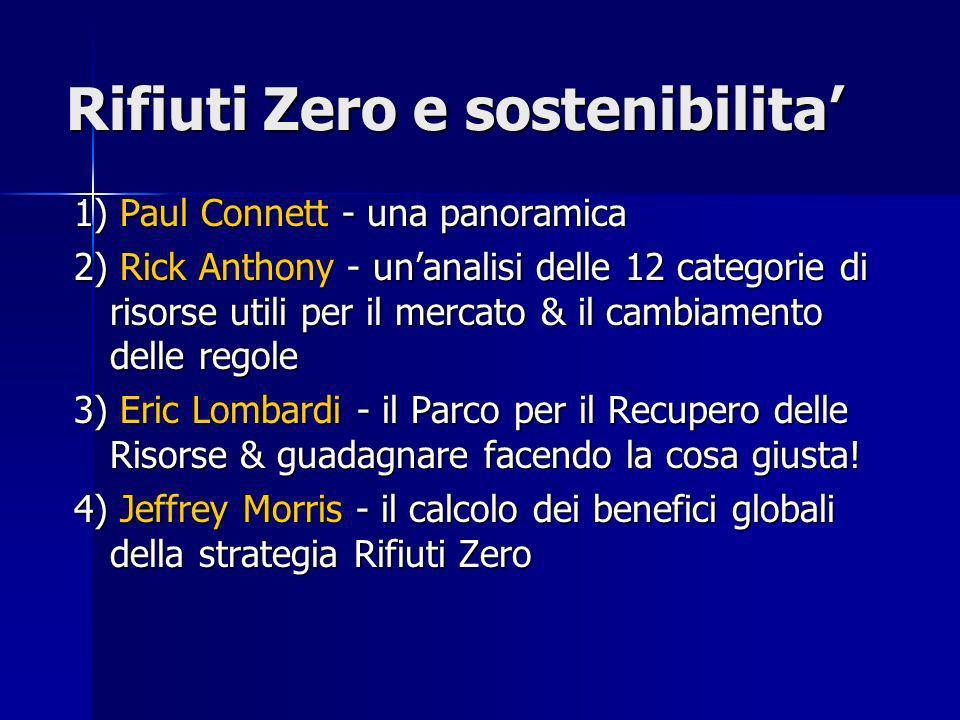 Rifiuti Zero e sostenibilita 1) Paul Connett - una panoramica 2) Rick Anthony - unanalisi delle 12 categorie di risorse utili per il mercato & il cambiamento delle regole 3) Eric Lombardi - il Parco per il Recupero delle Risorse & guadagnare facendo la cosa giusta.