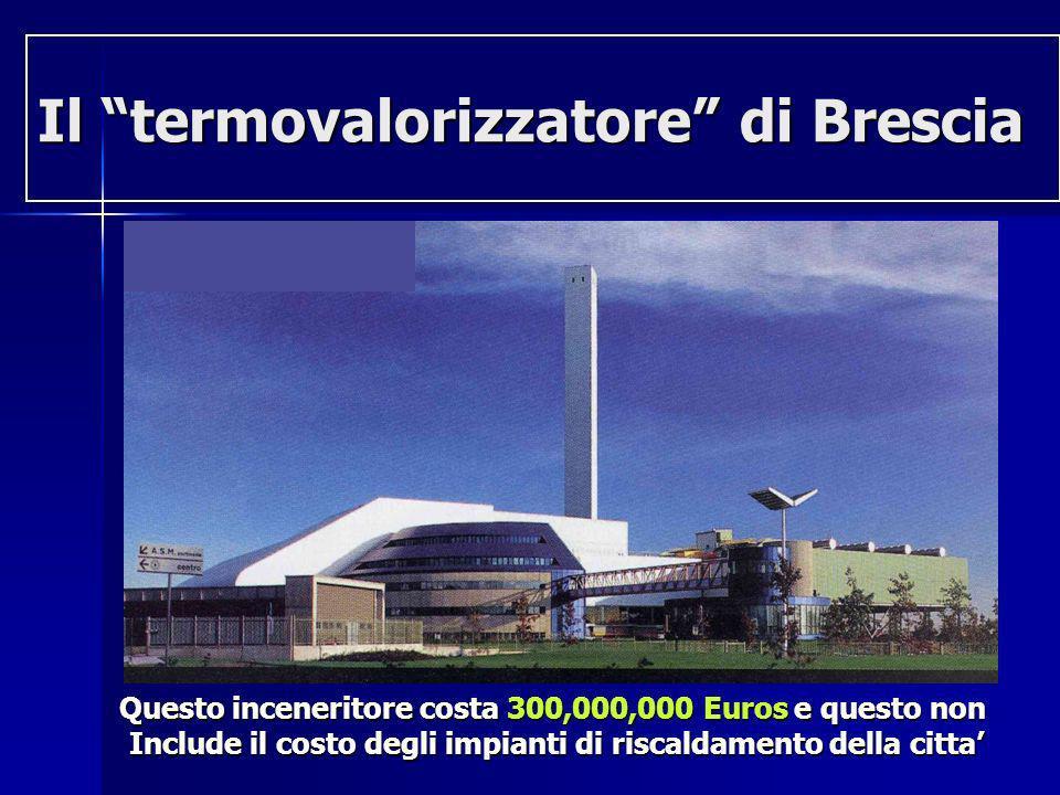 Il termovalorizzatore di Brescia Questo inceneritore costa 300,000,000 Euros e questo non Include il costo degli impianti di riscaldamento della citta