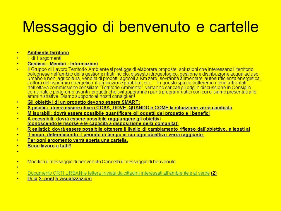 Messaggio di benvenuto e cartelle Ambiente-territorio 1 di 1 argomenti Gestisci · Membri · Informazioni Il Gruppo di Lavoro Territorio Ambiente si pre