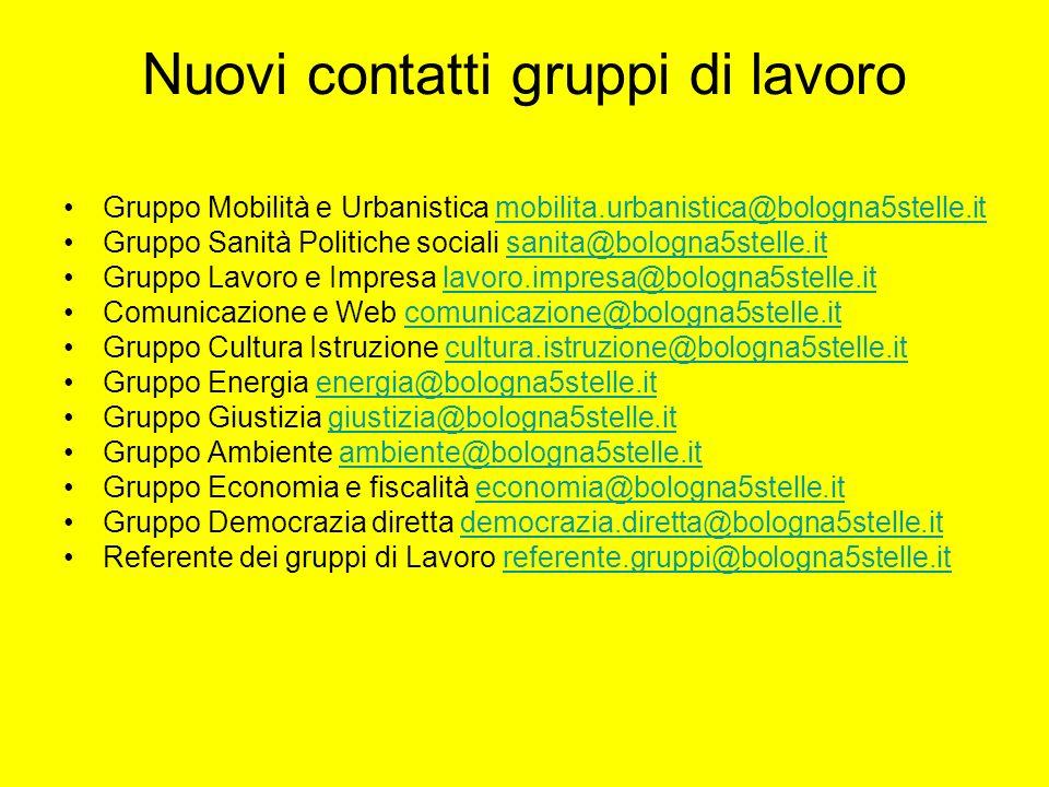 Nuovi contatti gruppi di lavoro Gruppo Mobilità e Urbanistica mobilita.urbanistica@bologna5stelle.itmobilita.urbanistica@bologna5stelle.it Gruppo Sani
