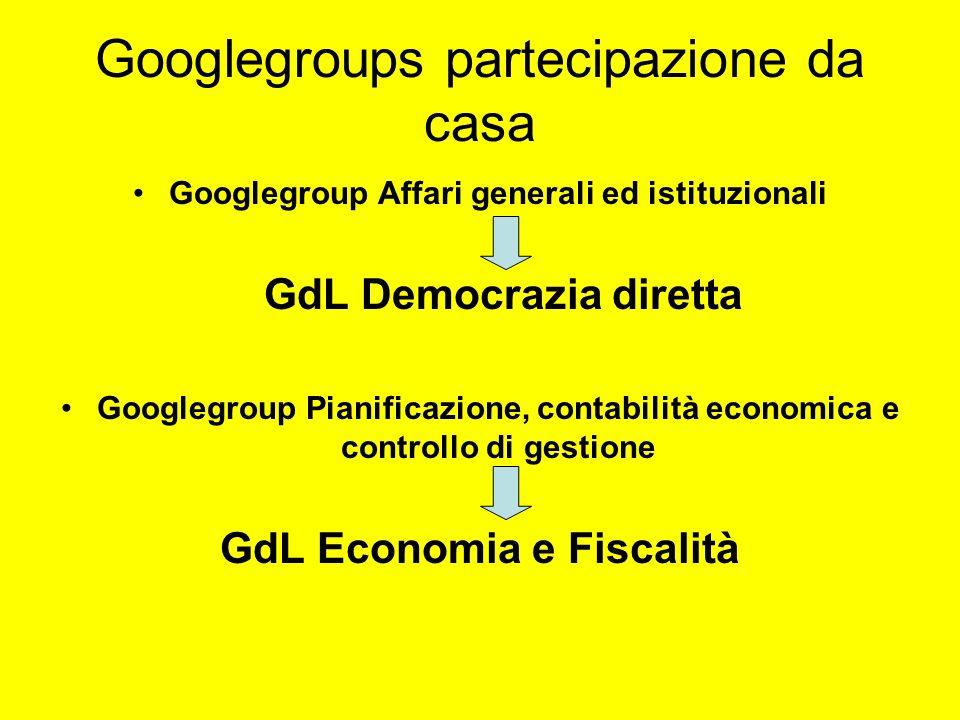 Googlegroups partecipazione da casa Googlegroup Affari generali ed istituzionali GdL Democrazia diretta Googlegroup Pianificazione, contabilità econom