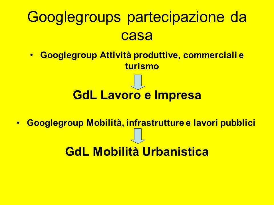 Googlegroups partecipazione da casa Googlegroup Attività produttive, commerciali e turismo GdL Lavoro e Impresa Googlegroup Mobilità, infrastrutture e