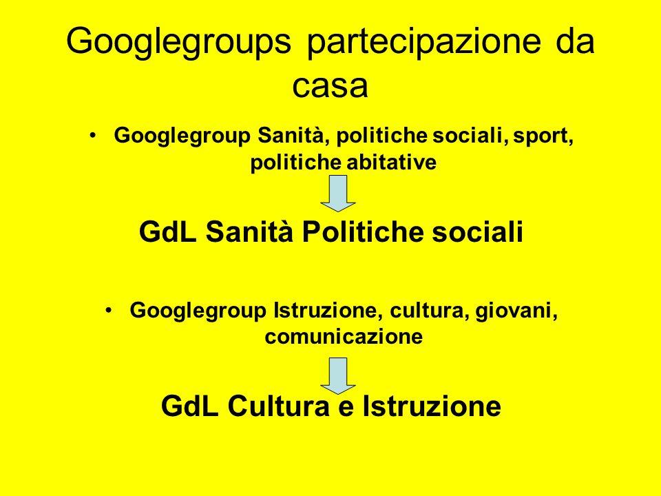 Googlegroups partecipazione da casa Googlegroup Sanità, politiche sociali, sport, politiche abitative GdL Sanità Politiche sociali Googlegroup Istruzi