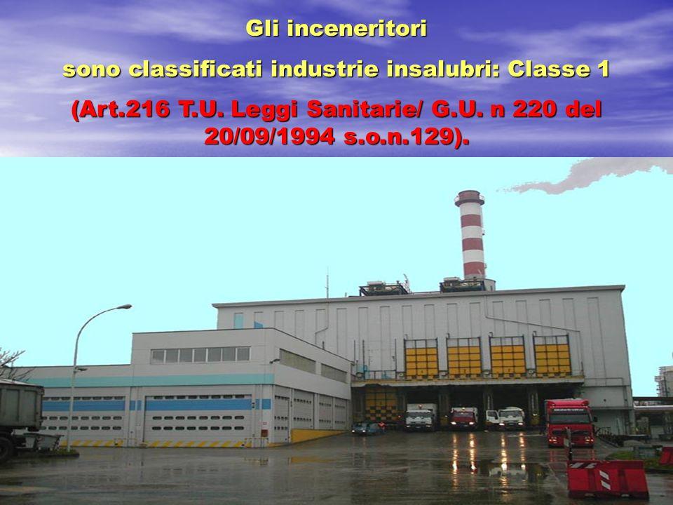 Gli inceneritori sono classificati industrie insalubri: Classe 1 (Art.216 T.U. Leggi Sanitarie/ G.U. n 220 del 20/09/1994 s.o.n.129).