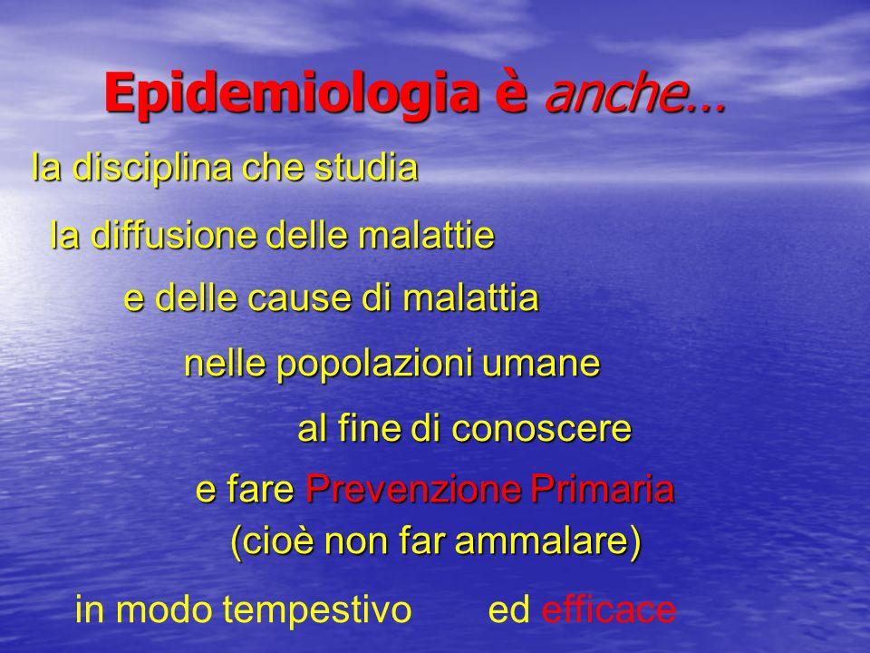 Epidemiologia è anche… la disciplina che studia la disciplina che studia nelle popolazioni umane la diffusione delle malattie e delle cause di malatti