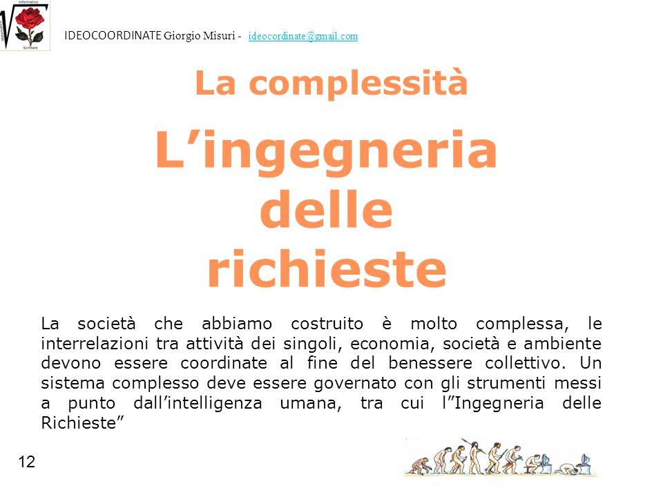 La complessità Lingegneria delle richieste La società che abbiamo costruito è molto complessa, le interrelazioni tra attività dei singoli, economia, s