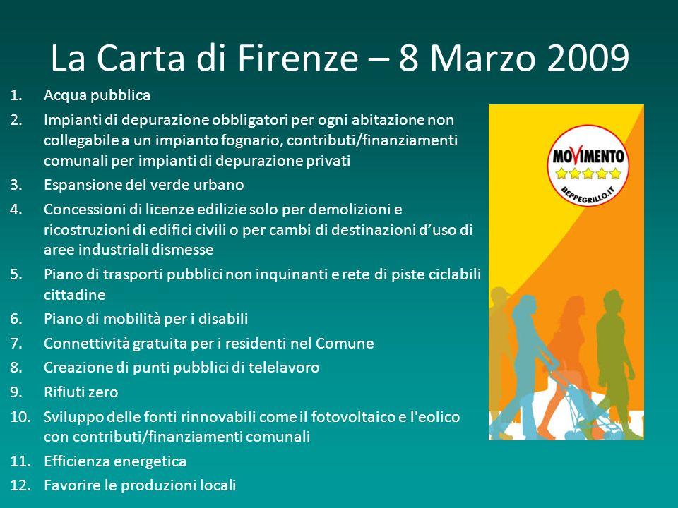 La Carta di Firenze – 8 Marzo 2009 1.Acqua pubblica 2.Impianti di depurazione obbligatori per ogni abitazione non collegabile a un impianto fognario,