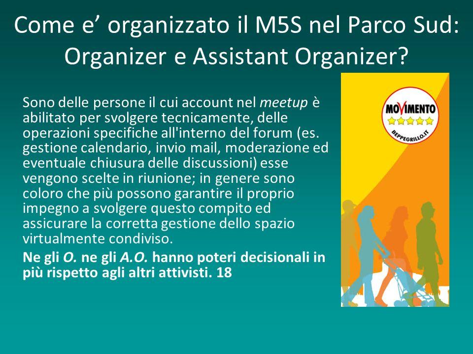 Come e organizzato il M5S nel Parco Sud: Organizer e Assistant Organizer? Sono delle persone il cui account nel meetup è abilitato per svolgere tecnic