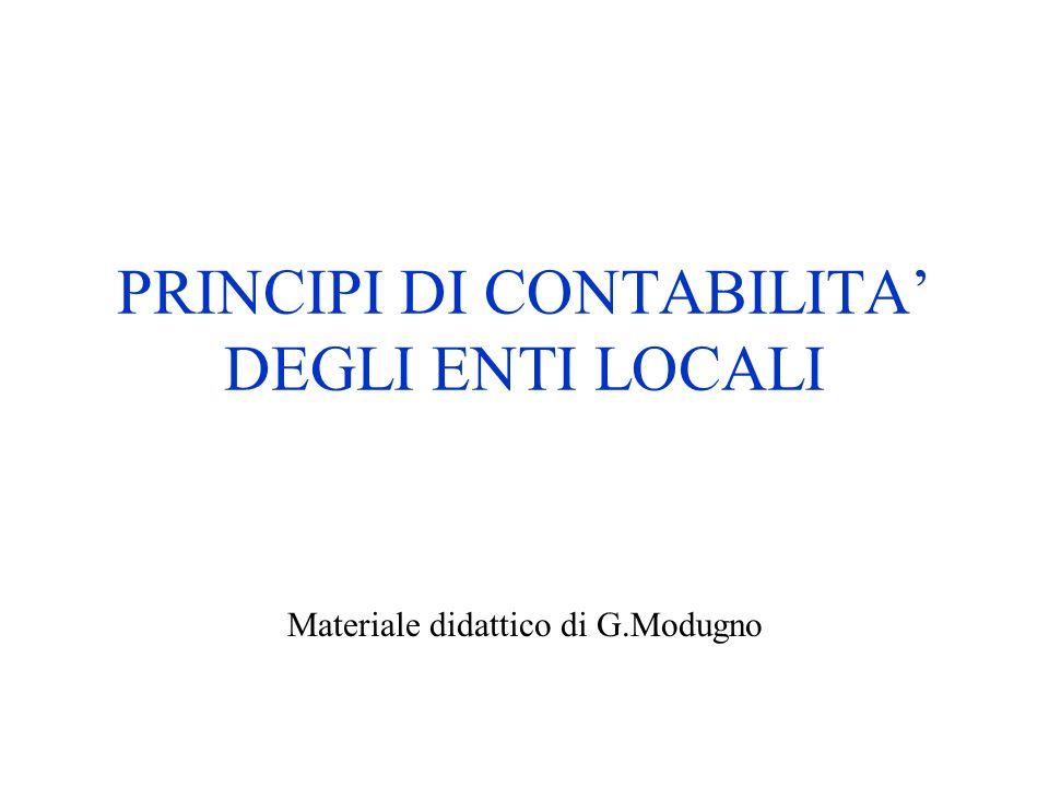 PRINCIPI DI CONTABILITA DEGLI ENTI LOCALI Materiale didattico di G.Modugno