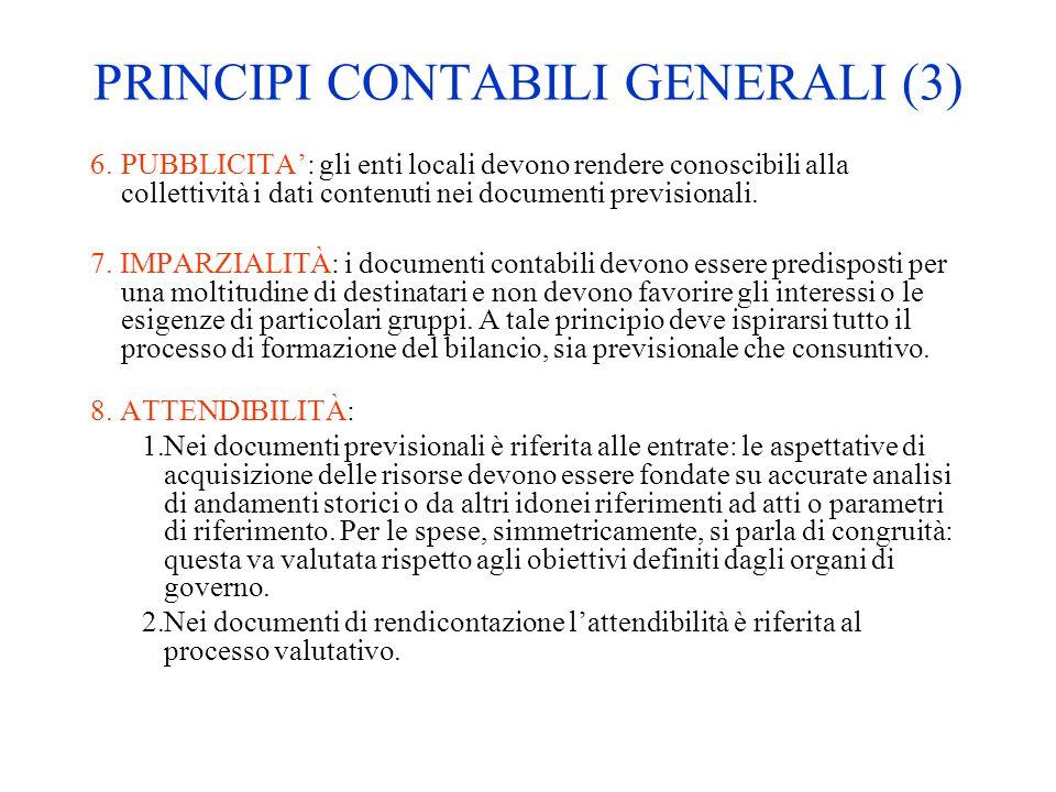 PRINCIPI CONTABILI GENERALI (3) 6.PUBBLICITA: gli enti locali devono rendere conoscibili alla collettività i dati contenuti nei documenti previsionali