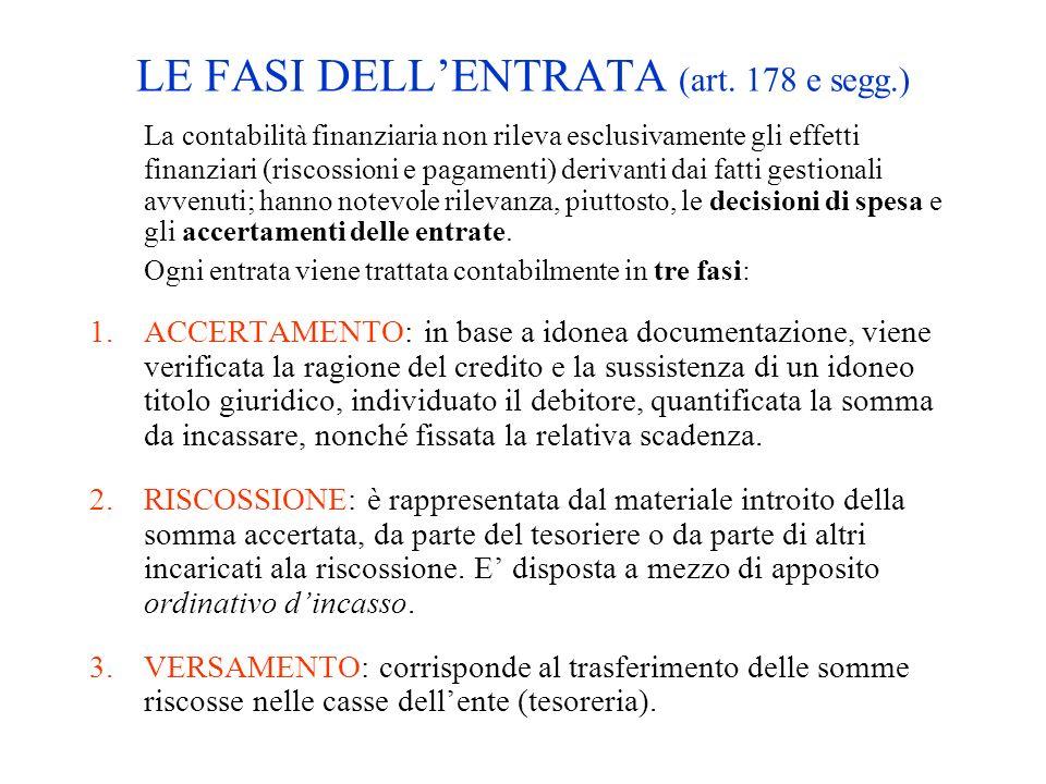 LE FASI DELLENTRATA (art. 178 e segg.) La contabilità finanziaria non rileva esclusivamente gli effetti finanziari (riscossioni e pagamenti) derivanti