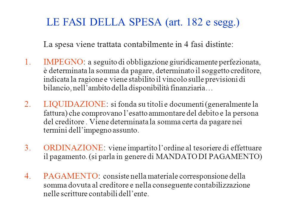 LE FASI DELLA SPESA (art. 182 e segg.) La spesa viene trattata contabilmente in 4 fasi distinte: 1.IMPEGNO: a seguito di obbligazione giuridicamente p