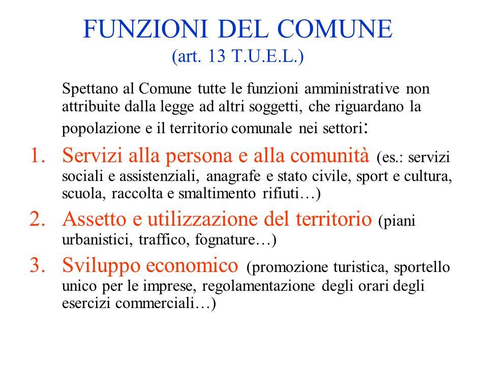 FUNZIONI DEL COMUNE (art. 13 T.U.E.L.) Spettano al Comune tutte le funzioni amministrative non attribuite dalla legge ad altri soggetti, che riguardan