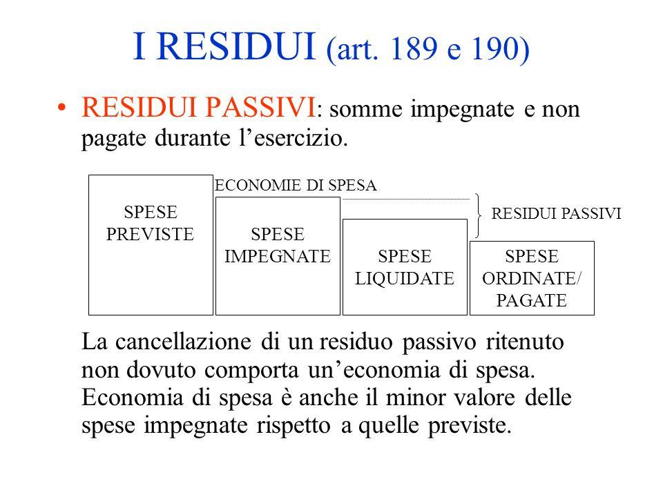 I RESIDUI (art. 189 e 190) RESIDUI PASSIVI : somme impegnate e non pagate durante lesercizio. La cancellazione di un residuo passivo ritenuto non dovu