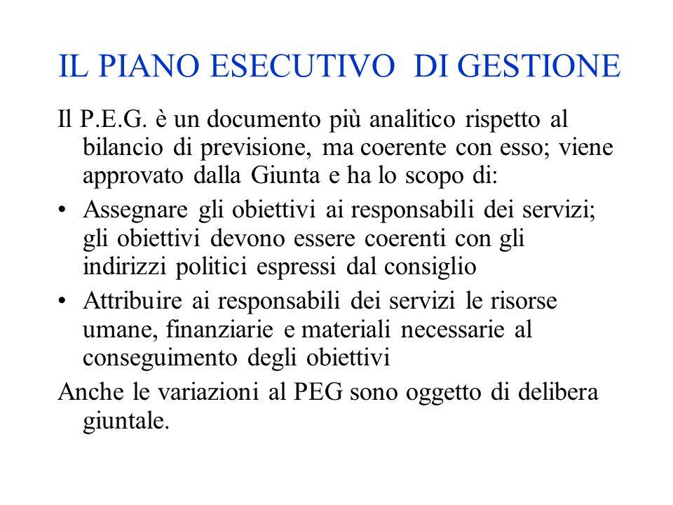 IL PIANO ESECUTIVO DI GESTIONE Il P.E.G. è un documento più analitico rispetto al bilancio di previsione, ma coerente con esso; viene approvato dalla