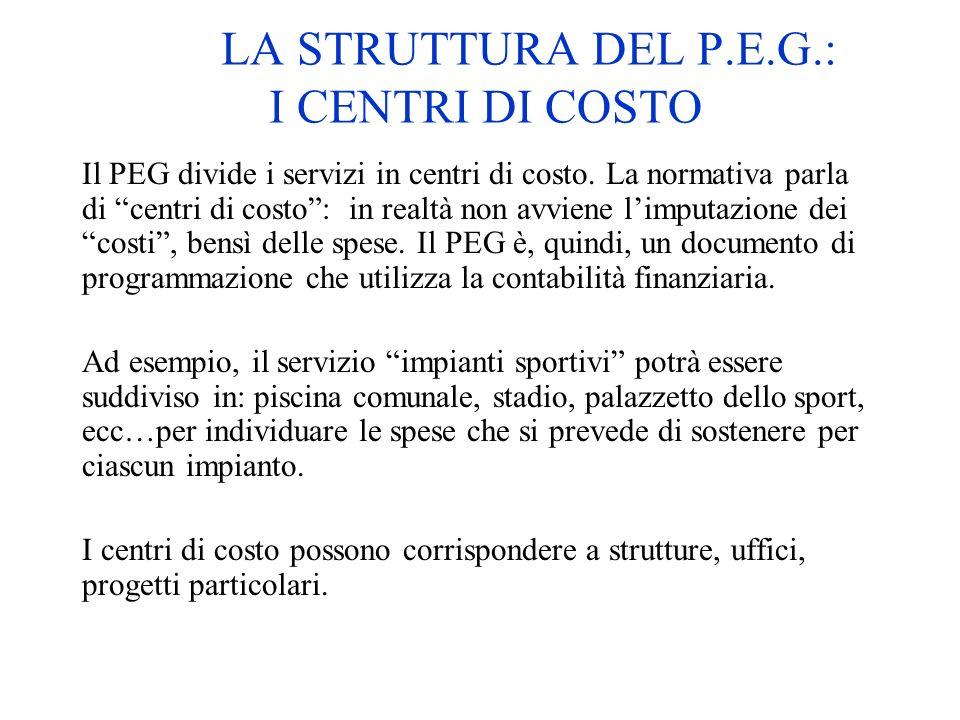 LA STRUTTURA DEL P.E.G.: I CENTRI DI COSTO Il PEG divide i servizi in centri di costo. La normativa parla di centri di costo: in realtà non avviene li
