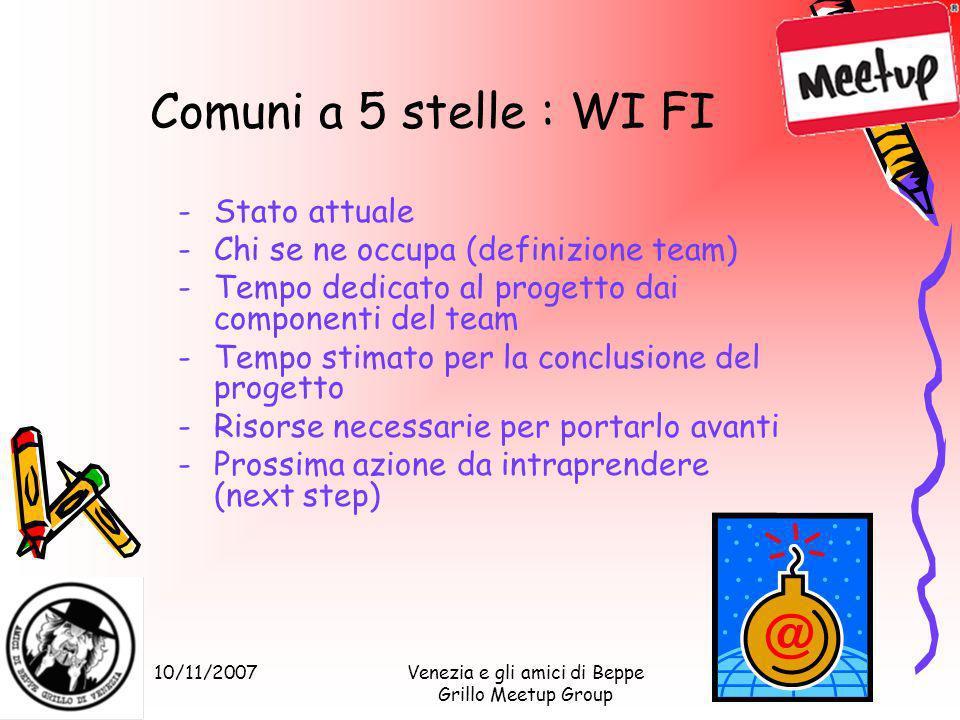 10/11/2007Venezia e gli amici di Beppe Grillo Meetup Group Comuni a 5 stelle : WI FI -Stato attuale -Chi se ne occupa (definizione team) -Tempo dedica