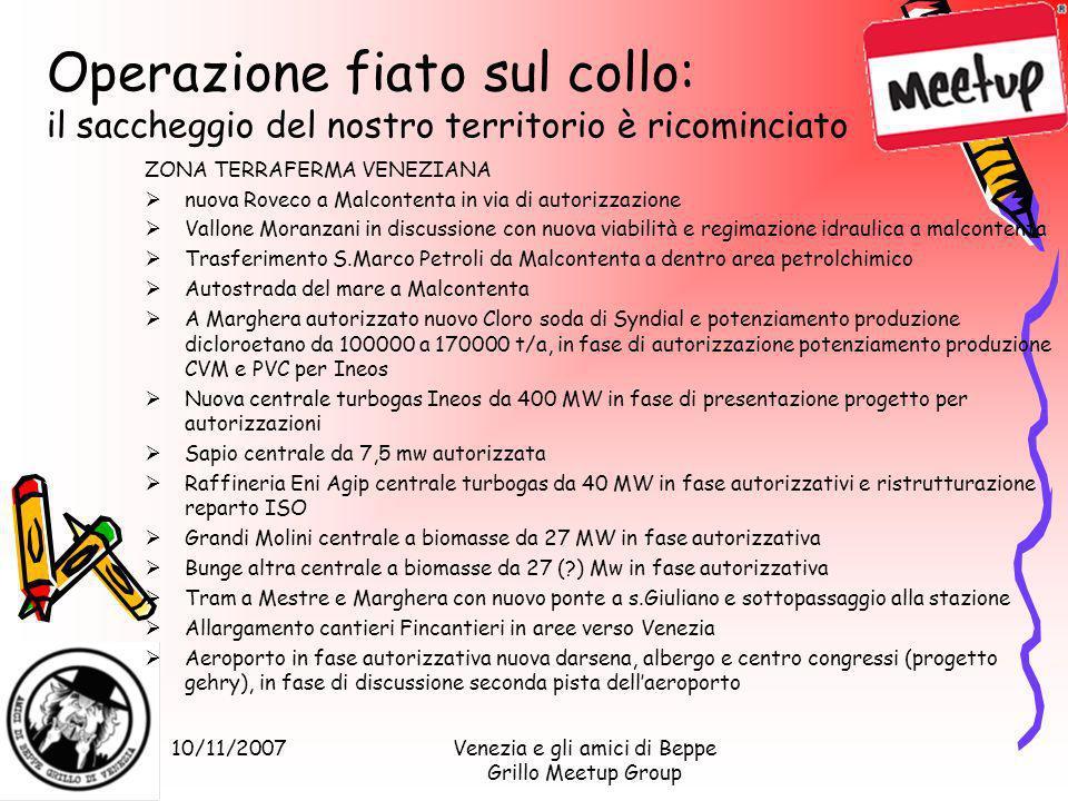 10/11/2007Venezia e gli amici di Beppe Grillo Meetup Group Operazione fiato sul collo: il saccheggio del nostro territorio è ricominciato ZONA TERRAFE