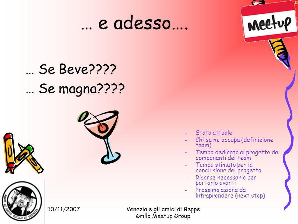 10/11/2007Venezia e gli amici di Beppe Grillo Meetup Group … e adesso…. … Se Beve???? … Se magna???? -Stato attuale -Chi se ne occupa (definizione tea