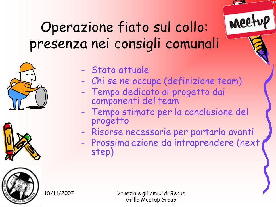 10/11/2007Venezia e gli amici di Beppe Grillo Meetup Group Operazione fiato sul collo: presenza nei consigli comunali -Stato attuale -Chi se ne occupa