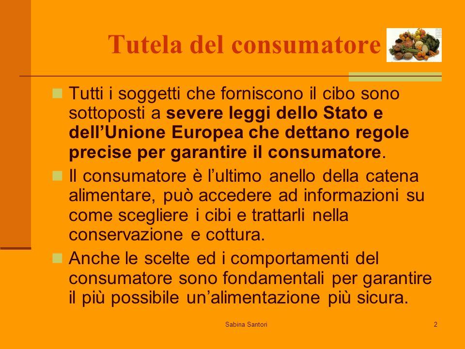 Sabina Santori2 Tutela del consumatore Tutti i soggetti che forniscono il cibo sono sottoposti a severe leggi dello Stato e dellUnione Europea che dettano regole precise per garantire il consumatore.