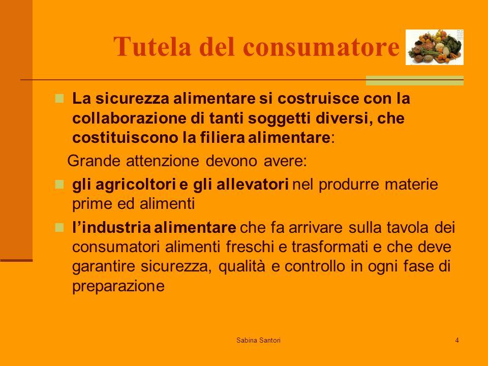 Sabina Santori4 Tutela del consumatore La sicurezza alimentare si costruisce con la collaborazione di tanti soggetti diversi, che costituiscono la fil