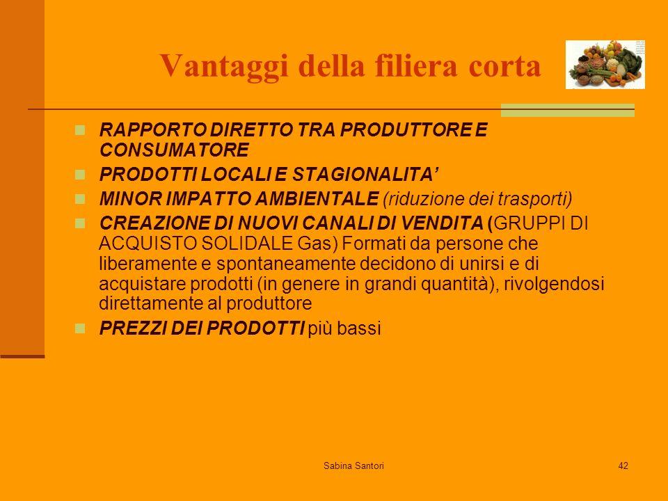 Sabina Santori42 Vantaggi della filiera corta RAPPORTO DIRETTO TRA PRODUTTORE E CONSUMATORE PRODOTTI LOCALI E STAGIONALITA MINOR IMPATTO AMBIENTALE (r