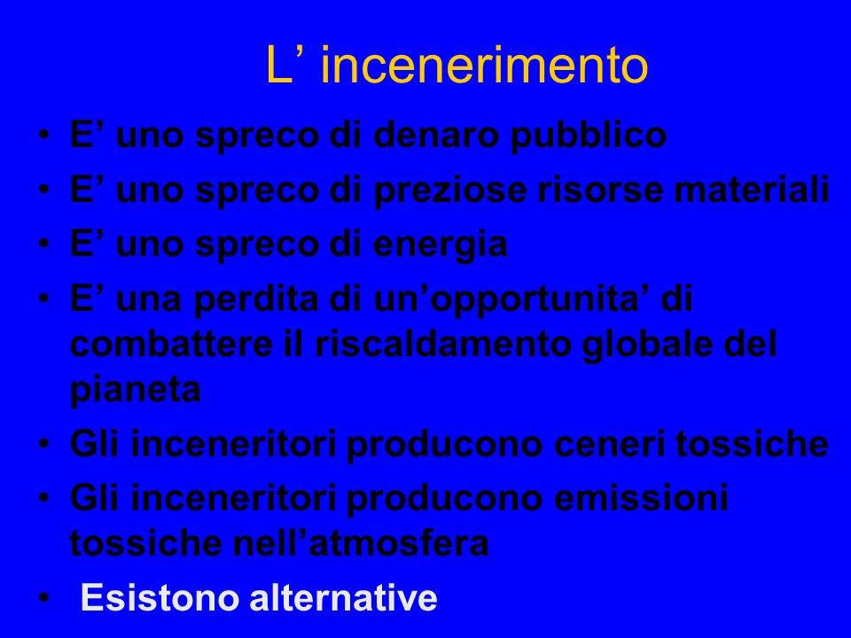 L incenerimento E uno spreco di denaro pubblico E uno spreco di preziose risorse materiali E uno spreco di energia E una perdita di unopportunita di combattere il riscaldamento globale del pianeta Gli inceneritori producono ceneri tossiche Gli inceneritori producono emissioni tossiche nellatmosfera Esistono alternative