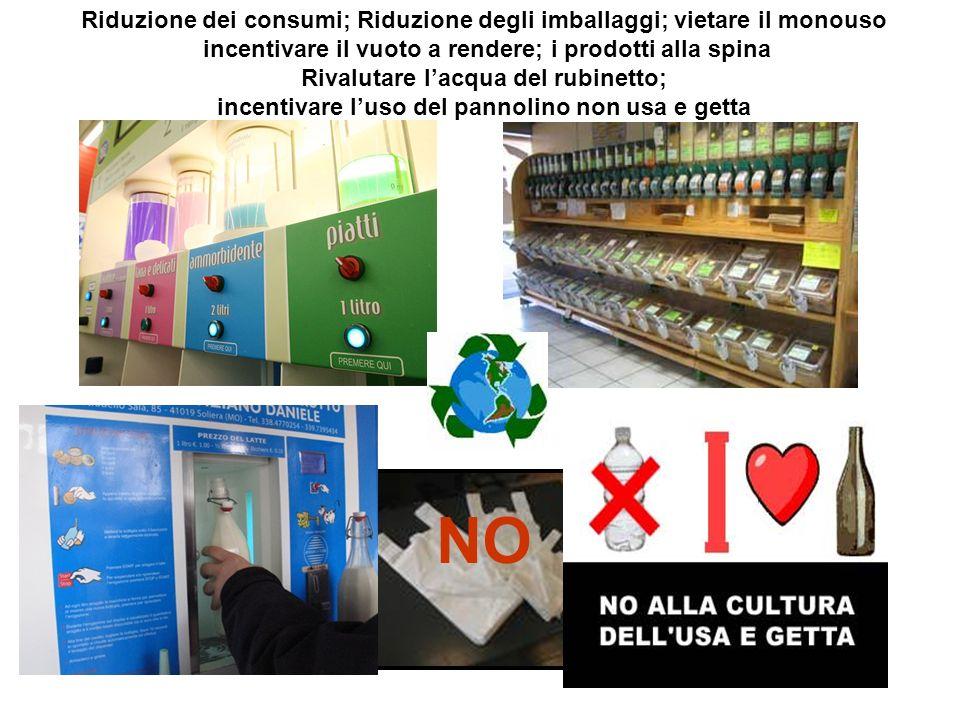 NO Riduzione dei consumi; Riduzione degli imballaggi; vietare il monouso incentivare il vuoto a rendere; i prodotti alla spina Rivalutare lacqua del r