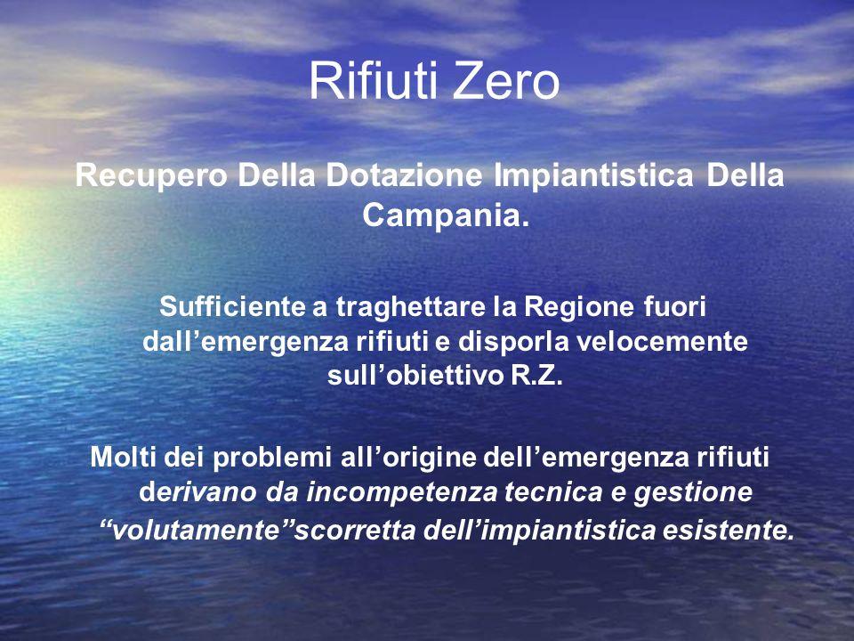 Rifiuti Zero Recupero Della Dotazione Impiantistica Della Campania. Sufficiente a traghettare la Regione fuori dallemergenza rifiuti e disporla veloce
