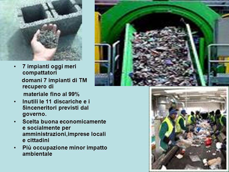 7 impianti oggi meri compattatori domani 7 impianti di TM recupero di materiale fino al 99% Inutili le 11 discariche e i 5inceneritori previsti dal governo.