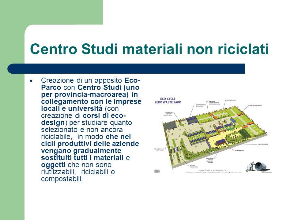 Centro Studi materiali non riciclati Creazione di un apposito Eco- Parco con Centro Studi (uno per provincia-macroarea) in collegamento con le imprese