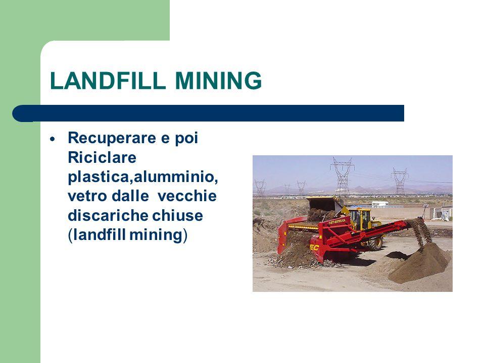 LANDFILL MINING Recuperare e poi Riciclare plastica,alumminio, vetro dalle vecchie discariche chiuse (landfill mining)
