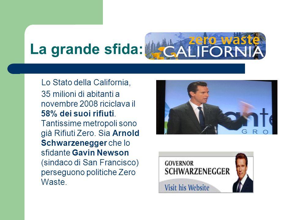 La grande sfida: Lo Stato della California, 35 milioni di abitanti a novembre 2008 riciclava il 58% dei suoi rifiuti. Tantissime metropoli sono già Ri