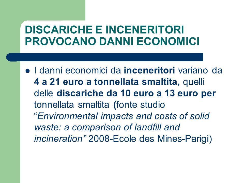 DISCARICHE E INCENERITORI PROVOCANO DANNI ECONOMICI I danni economici da inceneritori variano da 4 a 21 euro a tonnellata smaltita, quelli delle disca