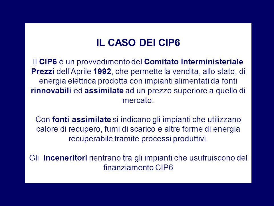 IL CASO DEI CIP6 Il CIP6 è un provvedimento del Comitato Interministeriale Prezzi dellAprile 1992, che permette la vendita, allo stato, di energia ele