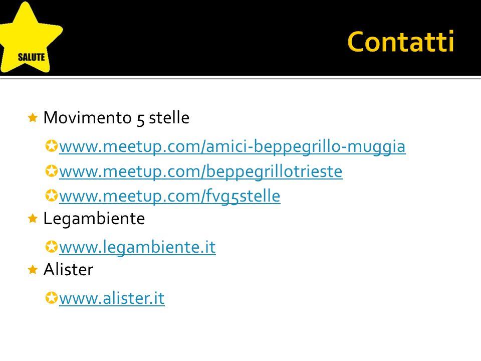 Movimento 5 stelle www.meetup.com/amici-beppegrillo-muggia www.meetup.com/beppegrillotrieste www.meetup.com/fvg5stelle Legambiente www.legambiente.it